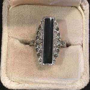 Jewelry - STERLING SILVER RING WITH BLACK STONE